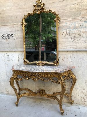 Consolle antica con specchio, inizio XX secolo in vendita su Pamono