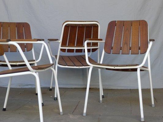 Sedie Da Giardino In Teck.Sedie Da Giardino In Teak E Acciaio Scandinavia Anni 60 Set Di 4