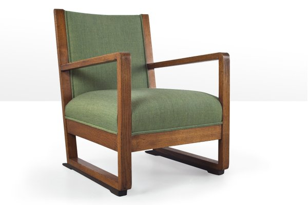 Art Deco Amsterdam School Lounge Chair In Solid Oak 1930s For Sale