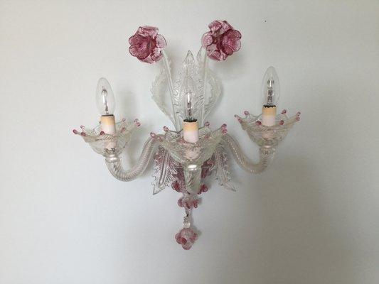 Applique murale florale en verre murano avec bras s en