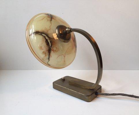 Lampe De Bureau Ou Applique Murale En Laiton Verre Marbre