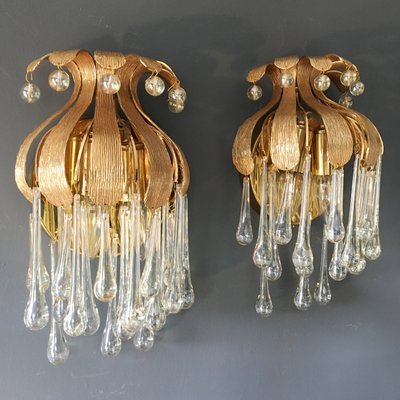 buy popular b55f3 8406c Gold-Plated Murano Glass Teardrop Wall Sconces from Palwa, 1970s, Set of 2