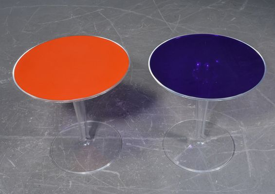 Transparent Acrylic Tulip Side Tables, 1970s, Set of 2
