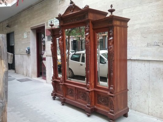 Antique Wardrobe With Three Mirrored Doors 1900s 2