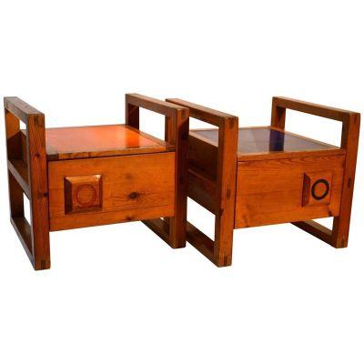 French Modernist Bedside Tables With Orange U0026 Blue Tops, 1950s, ...