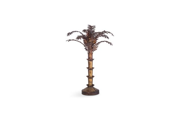 Hollywood Regency Copper Palm Tree Table Lamp 1970s 1
