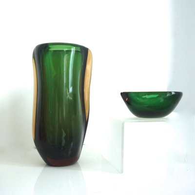 Czech Art Glass Vase From Stahlikavo Murano Glass Bowl By