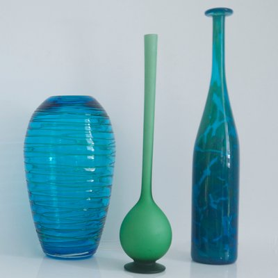 Modernist Mint Green Satinato Pencil Vase By Carlo Moretti 1960s