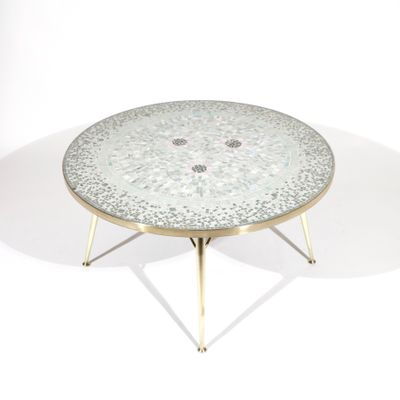 German Coffee Table With Mosaic Top By Berthold Müller 1950s 1