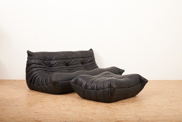 Togo Leather Sofa & Ottoman by Michel Ducaroy for Ligne Roset, 1973 ...