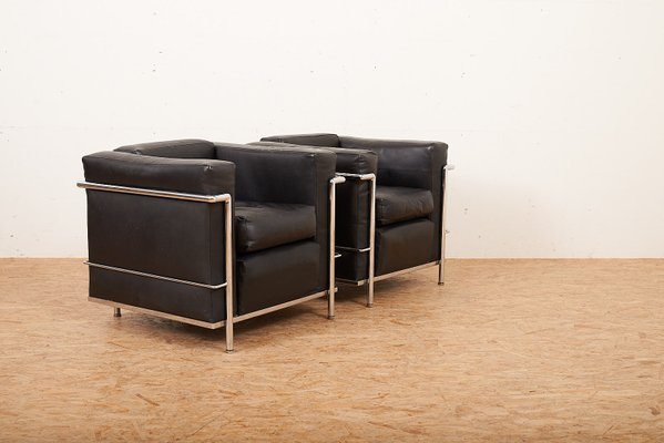 Vintage LC2 Sessel von Le Corbusier & Charlotte Perriand für Cassina, 2er  Set