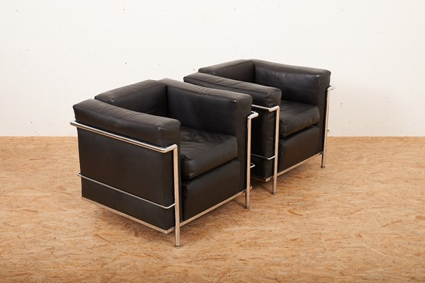 Vintage LC2 Lounge Chairs by Le Corbusier & Charlotte Perriand for ...