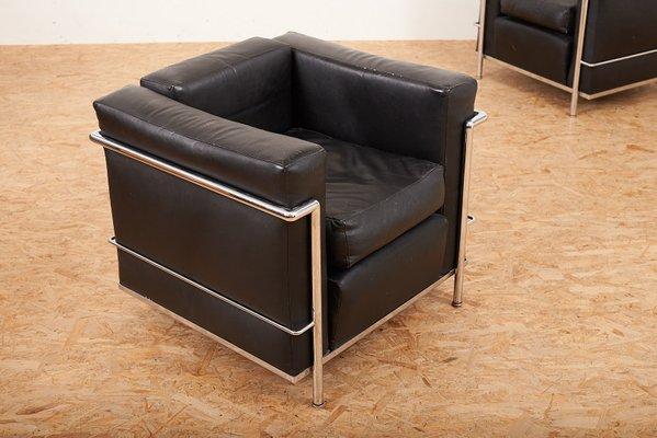 Le Corbusier Lc2 Fauteuils.Fauteuils Lc2 Vintage Par Le Corbusier Charlotte Perriand Pour Cassina Set De 2