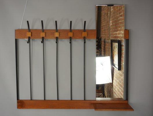 Häufig Wandgarderobe mit Spiegel, 1950er bei Pamono kaufen ZS17