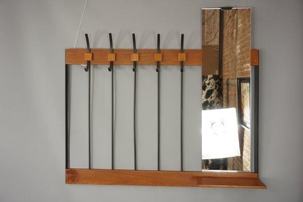 Attaccapanni da parete con specchio, anni \'50 in vendita su Pamono