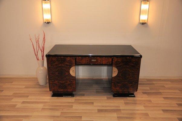 Art Deco Desk With Burl Wood Doors 1