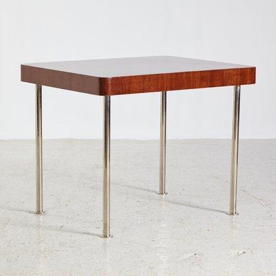 Bon Vintage Chrome Legs Walnut Console Table, 1930s 1