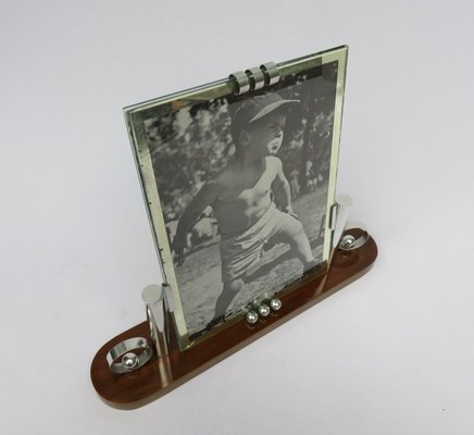 Art Deco French Wood Chrome Picture Frame For Sale At Pamono