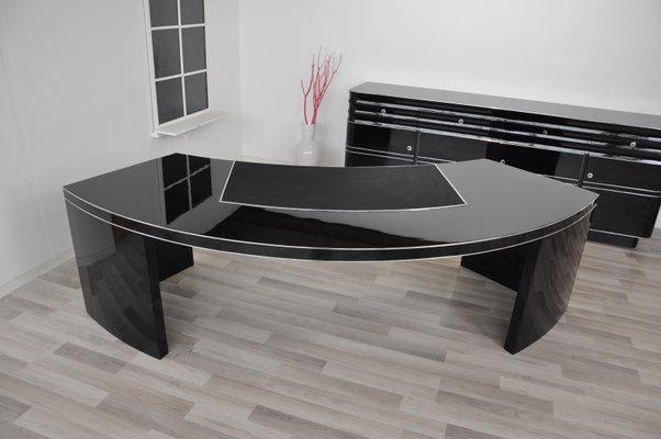 Large Black High Gloss Desk 1950s For