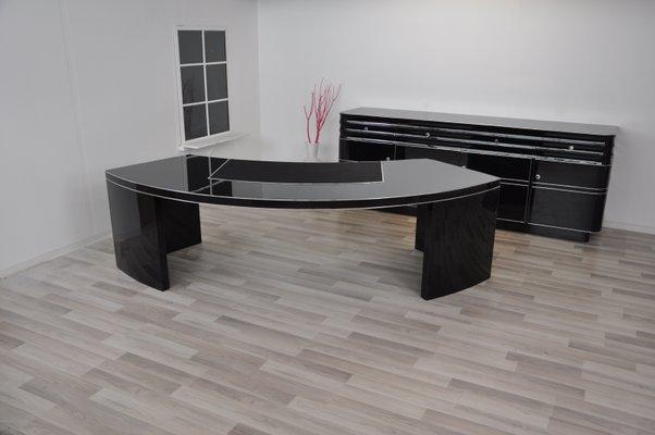 Grand bureau noir très brillant s en vente sur pamono