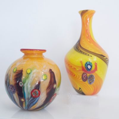 Yellow Millefiori Vases From Fratelli Toso 1950s Set Of 2 For Sale