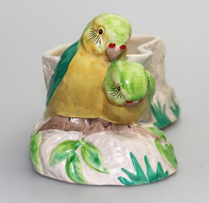 Vintage British Art Pottery Budgerigar Love Birds Planter by Clarice Cliff  for Newport Pottery