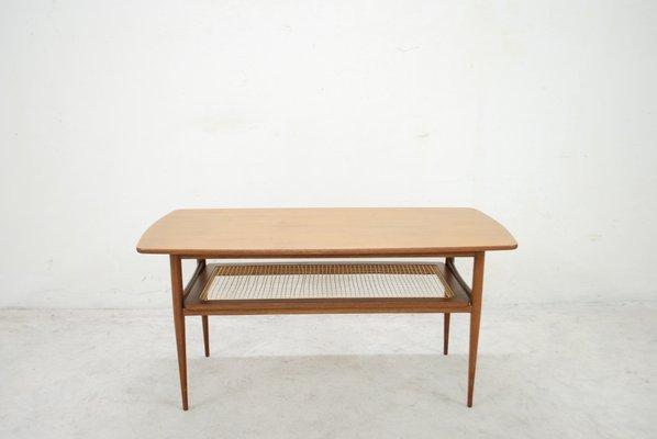 Table Basse Moderne Sculpturale En Teck Rotin Danemark