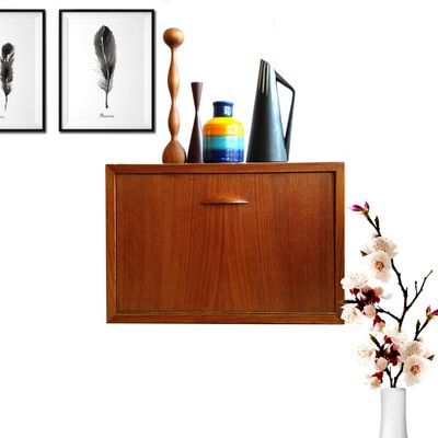 Small Mid Century Danish Floating Wall Cabinet, 1970s 2