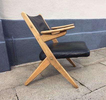 Danish Oak & Leather Lounge Chair by Arne Hovmand Olsen, 1960s