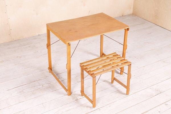 Tavolo e sgabello da bambino industriali pieghevoli anni in