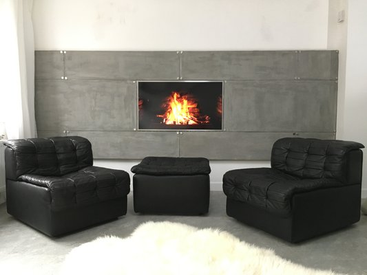 Vintage Ds11 Modular 2 Seater Sofa With Ottoman In Black Leather From De Sede 1