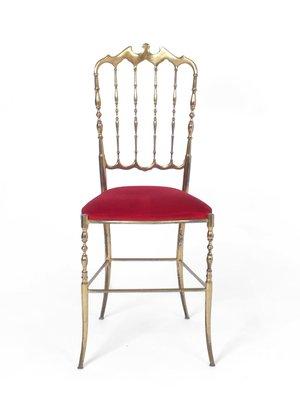 Vintage Red Velvet Chair From Chiavari 1950s 1