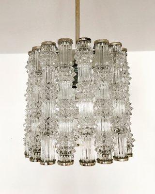 Versilberte Kristallglas Lampe von Kaiser Leuchten, 1960er