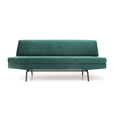 Italian Sofa Bed In Green Velvet, 1960s 1