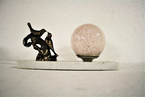 Lampada da tavolo art déco con uccelli anni 30 in vendita su pamono