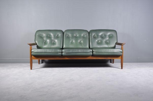 Mid Century Scandinavian Green Leather Sofa Set, 1960s 2