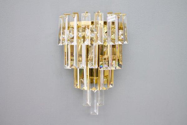 Applique da parete in ottone e vetro di palwa anni 60 set di 2 in