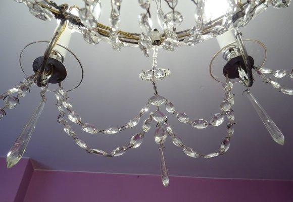 Lampadario Antico Con Angeli : Lampadario antico in vetro di real fábrica de cristales de la