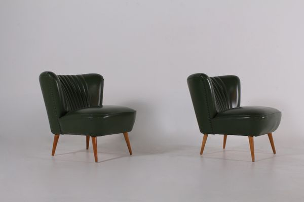 Merveilleux Mid Century Cocktail Chairs In Green Leatherette, Set Of 2 2