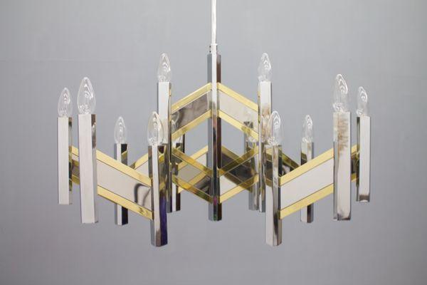 Großer Kronleuchter Aus Chrom U0026 Glas Von Sciolari, 1960er 1