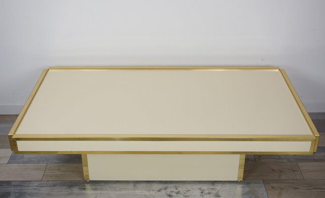 Mid Century Brass U0026 Ivory Lacquer Coffee Table By Willy Rizzo 1