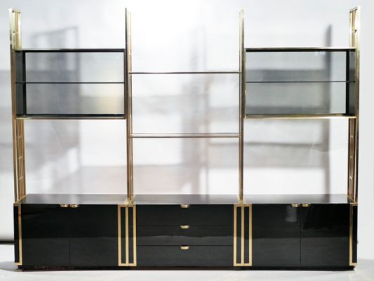 Lacquered Brass Bookshelf Wall Unit By Moltzer, 1970s 1