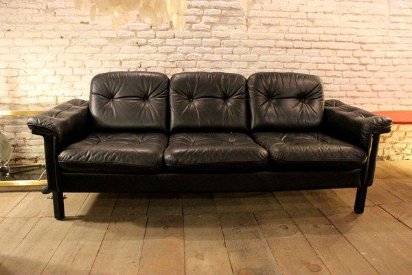 Superieur Vintage Black Leather Sofa, 1970s