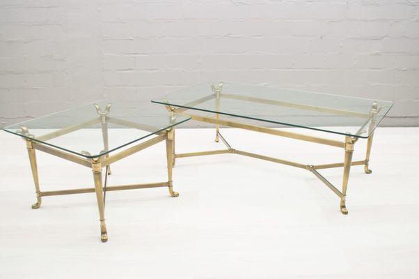 Tavoli moderni in ottone e vetro, Italia, anni \'80, set di 2