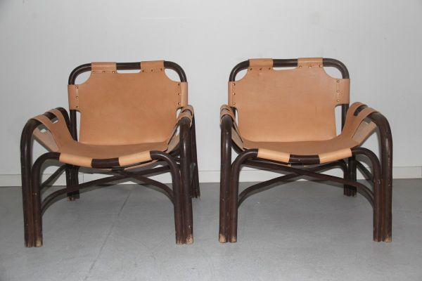 Bamboo U0026 Leather Armchairs By Tito Agnoli For Vittorio Bonacina, 1960, ...