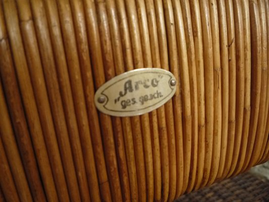 German Art Deco Rattan Bamboo Sofa From Arco 1940s 17