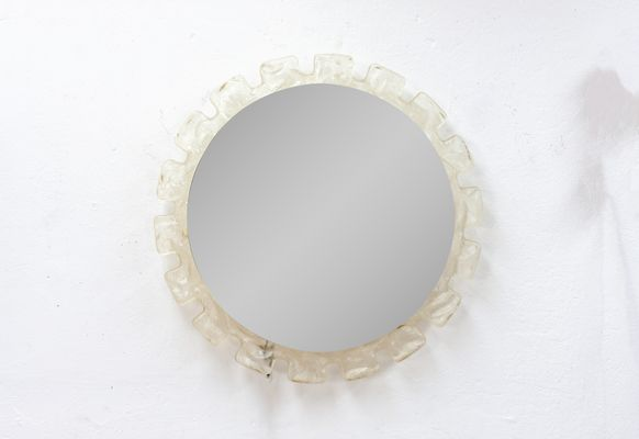 Italian Round Wall Mirror With Backlight 1960s For Sale At Pamono