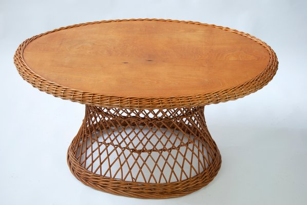 Oval German Rattan Coffee Table 1960s