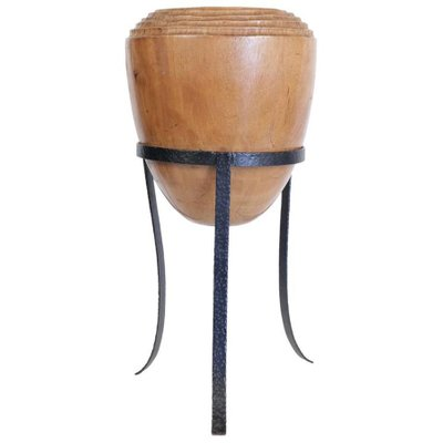 Large Mid Century Modern Decorative Pot In Solid Wood 1