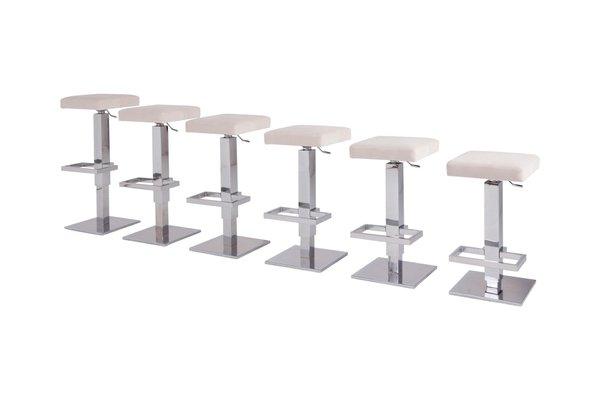 Sgabelli da bar regolabili in acciaio cromato e velluto bianco di
